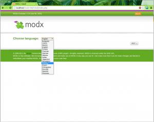 Выбор языка инсталлятора MODx Evolution