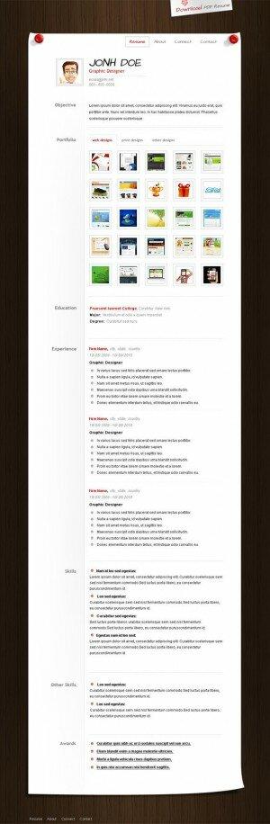 PSD исходник для сайта - CV Template