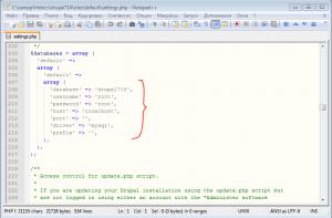 Пример файла конфигурации CMS Drupal